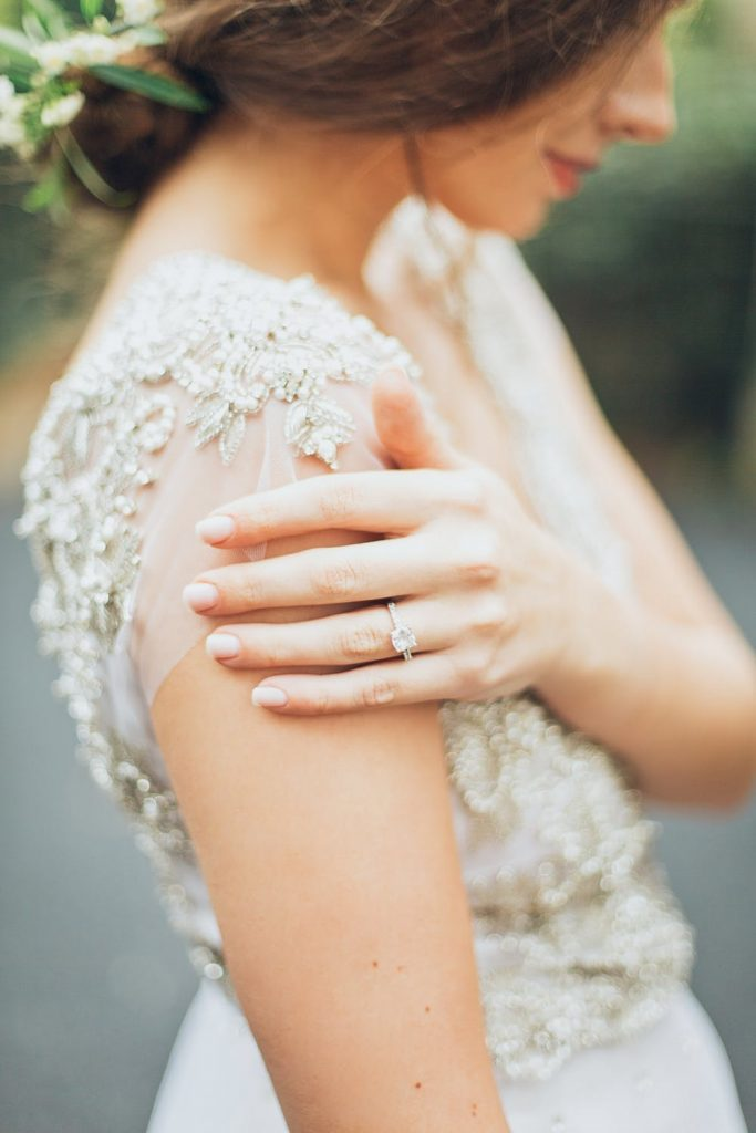 Bride showing her wedding ring made in Melbourne